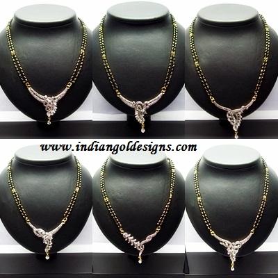 Gold and diamond jewellery designs gold mangalsutra black beads gold mangalsutra black beads jewellery nallapusalu with diamond pendant designs aloadofball Gallery
