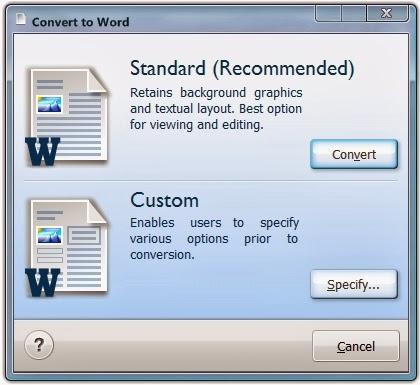 Conversione Word (Standard o Personalizzata)