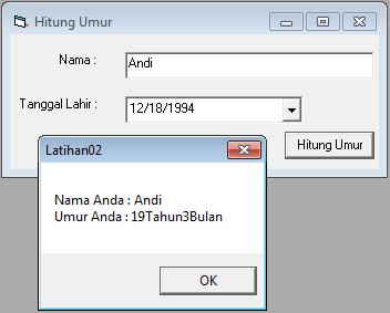 Membuat Program Menghitung Umur Dengan Visual Basic 6.0