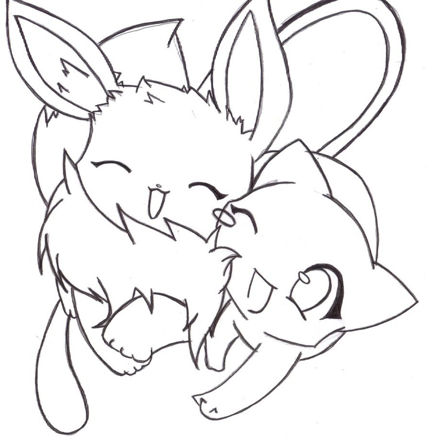 kawaii pictures: Eevee and mew