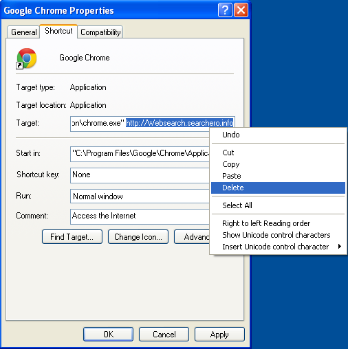 Malicious properties shortcut Websearch.searchero.info