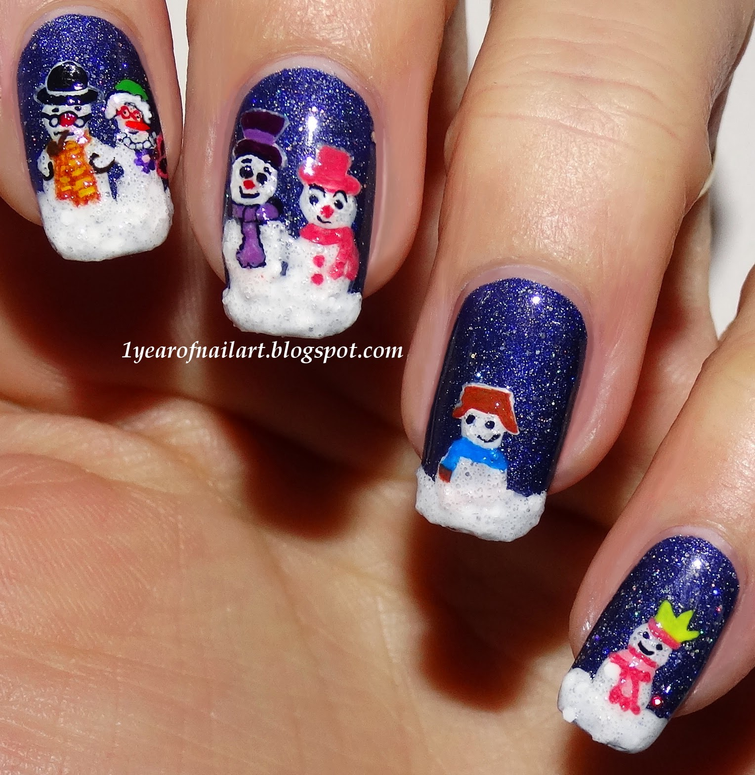 365+ days of nail art: Six Frosty Snowmen
