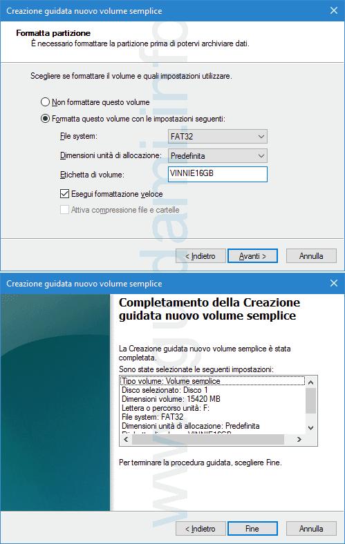 Windows Creazione guidata nuovo volume semplice