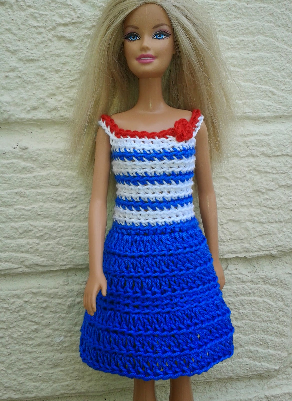 Crochet Barbie : Barbie Crochet Nautical Dress