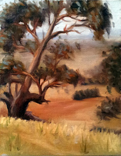 Oil painting of a gum tree on a hillside with dry grass and dusty distant paddocks.
