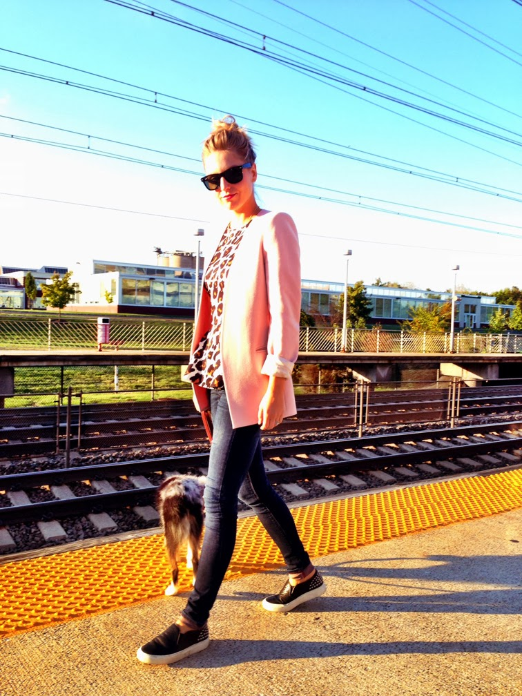 Tips & Tricks: Ask FOR pink blazer leopard peplum top Sandro Anaconda slip on sneakers