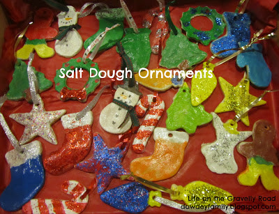 salt dough ornaments, painted with glitter added