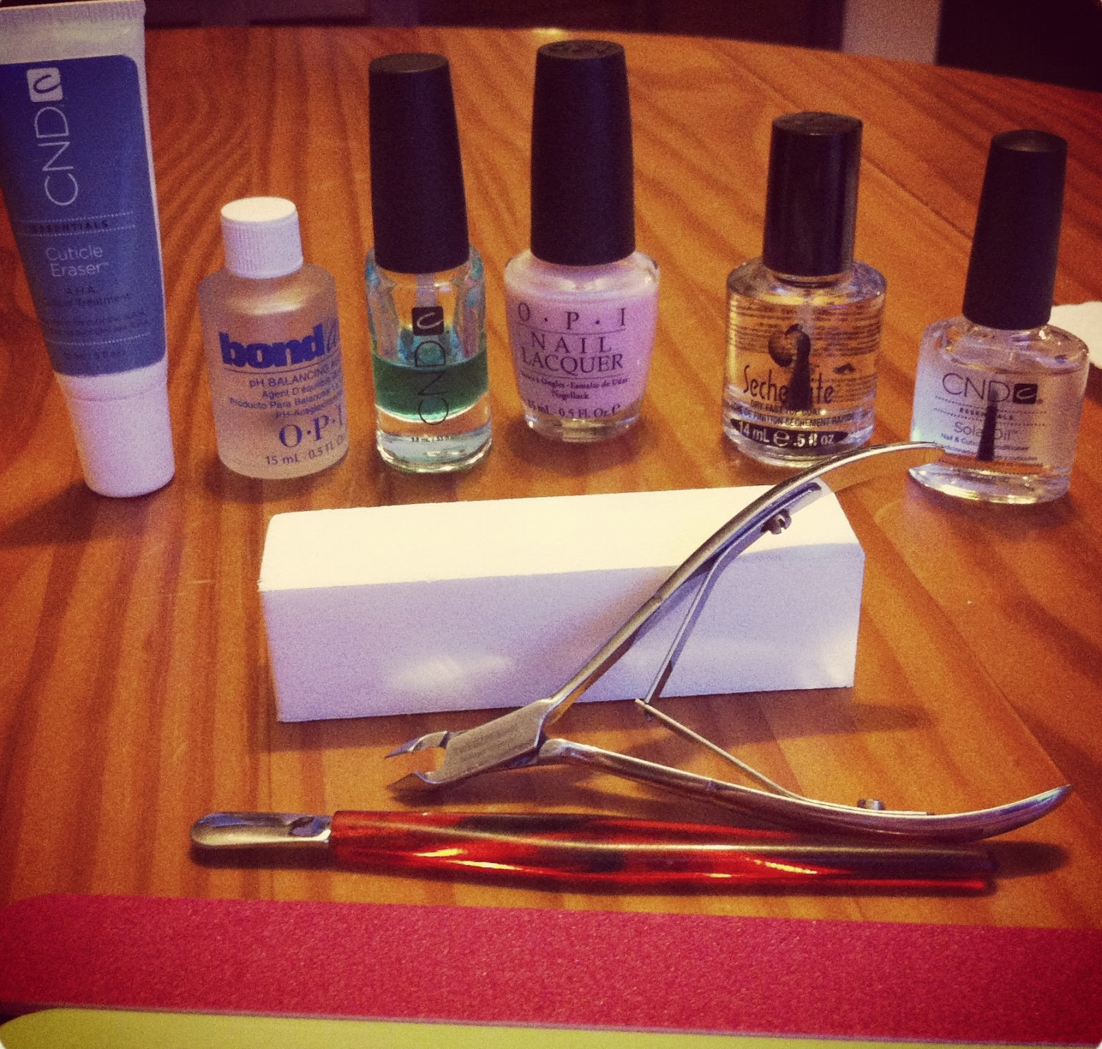 at home manicure, OPI, CND, nail polish, Seche Vite, nail files, cuticle cutters, nail polish tips & tricks