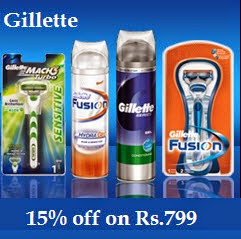 Gillette Products upto 20% off + 15% off on Rs.550 @ Amazon