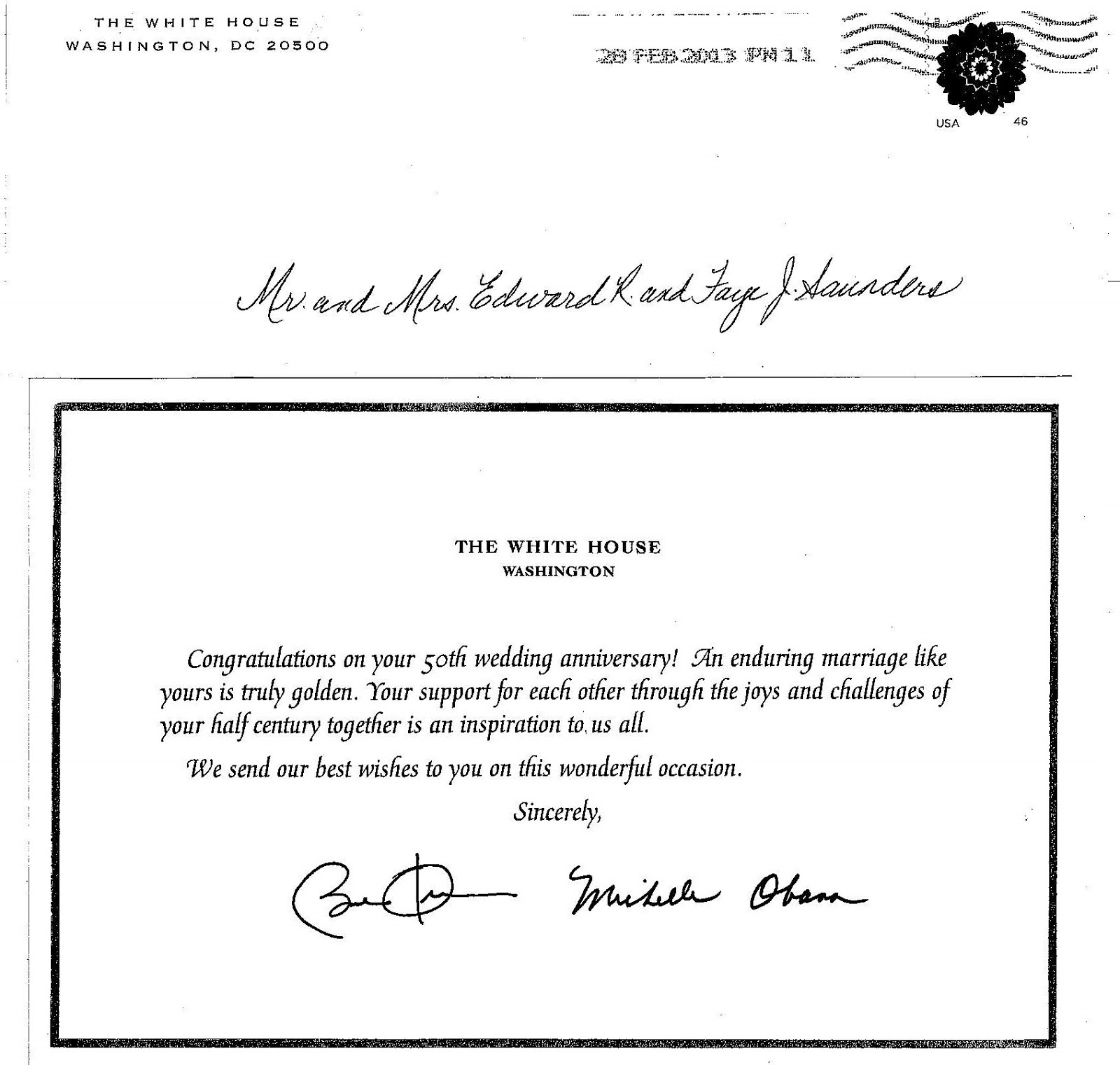 The Youth Career Coach Inc POTUS FLOTUS say Happy 50th to – Birthday Card from White House