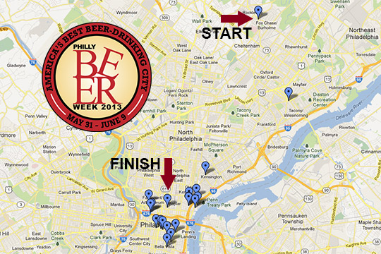 Annotated Map: Philly Beer Week Hammer of Glory Relay Route - Zagat (blog)