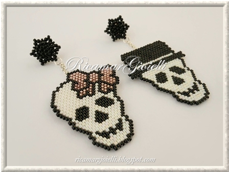 Mr. & Mrs. Skull teschi in brich stitck e peyote