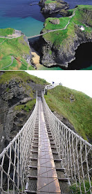 The Carrick-a-Rede Rope Bridge, Ballintoy, County Antrim, Northern Ireland, Carrick, National Trust, tourist attraction, rocks below