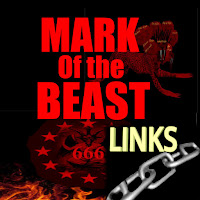 a graphic (c) Erika Grey titled Mark of the Beast links of Baphomet the devil, goat, dragon symbol for Satan, within a circle of stars with 666 in capital letters across his chest with the flames of hell below him against a black background symbolizing the Antichrist, and his mark of the beast and below in yellow capital letters it reads links with a piece of an enlarged silver chain below it.