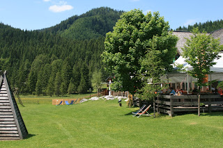 Pasture field at Blaa-Alm in Slazkammergut area in Austria