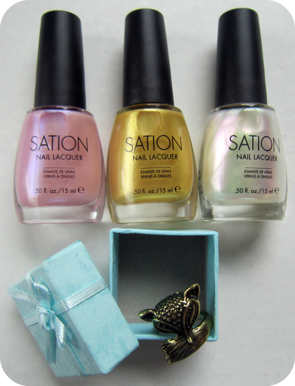 Winner 3 Lovely Sation Polishes Of Their Own I M Throwing In A Cute Fox Ring Too From Left To Right We Have Cotton Candy 18k Gold Angel White