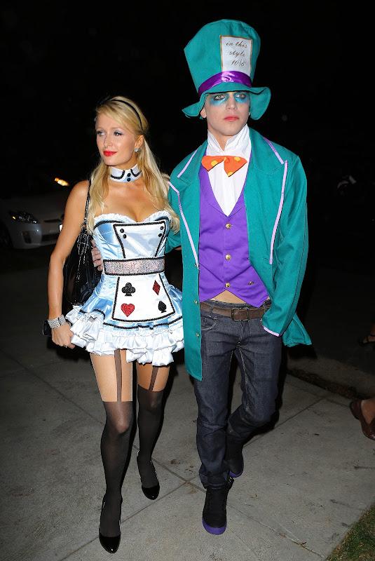 Paris Hilton arriving at a halloween party 2012