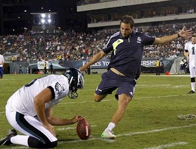 Gonzalo Higuian in Philadelphia shooting a NFL ball