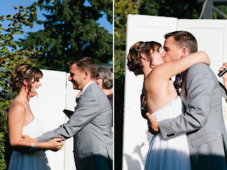 A kiss seals Caitlin and Ben's wedding vows.  Patricia Stimac, Seattle Wedding Officiant