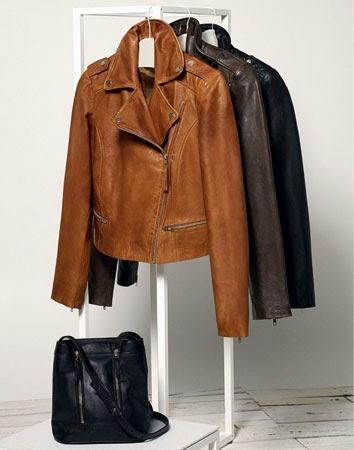 casacos e blusões de pele mulher estilo biker Mango primavera 2014