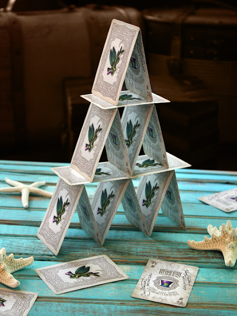business cards printed at GotPrint used to create playing card pyramid