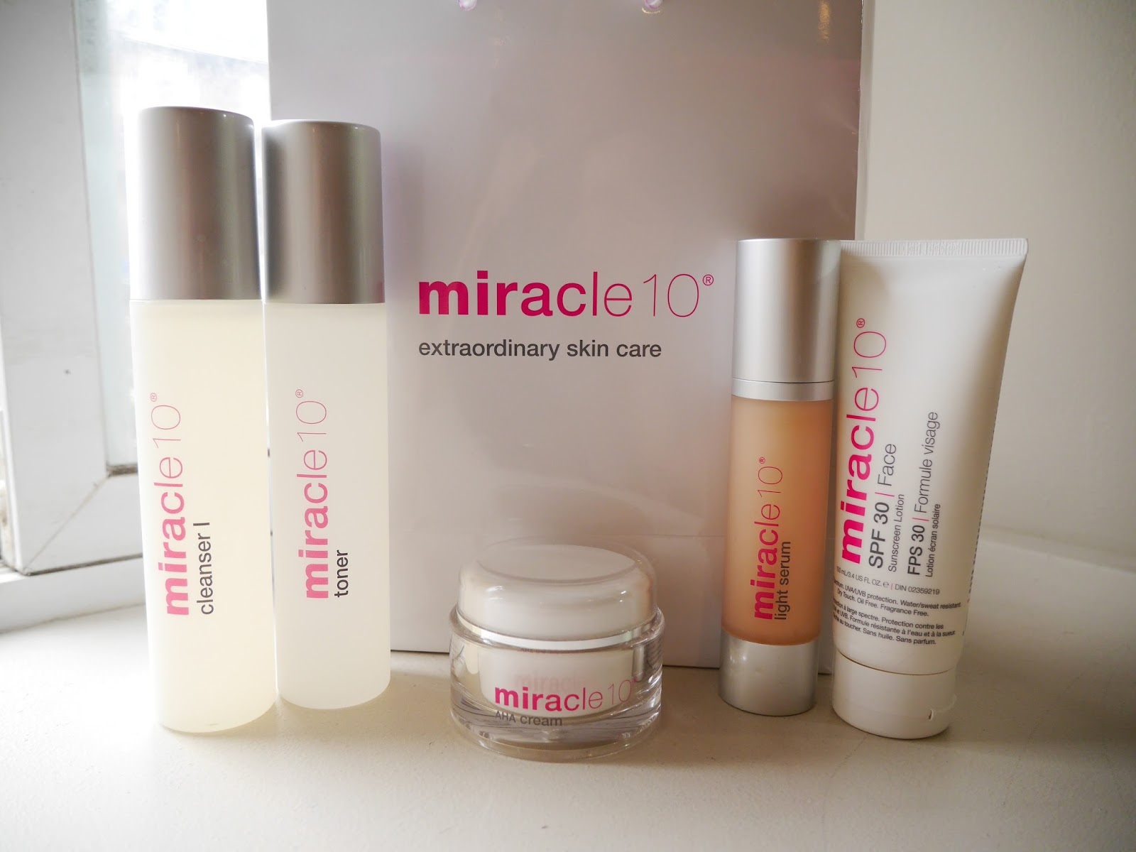 miracle10 skincare and peel review cleanser I toner aha cream light serum spf 30 face lotion ingredients