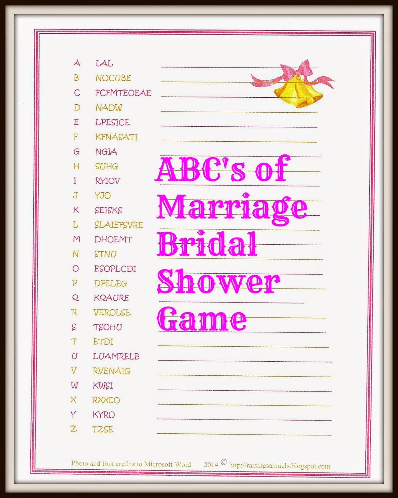 free abcs of marriage bridal shower game