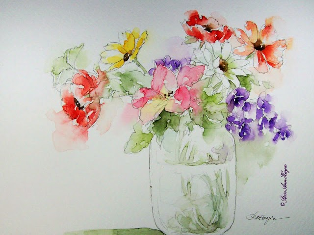 floral bouquet watercolor by Rose Ann Hayes