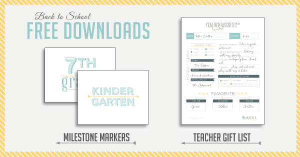 FREE Download of Back to School Printables including teacher gift lift ideas and grade level signs for first day of school
