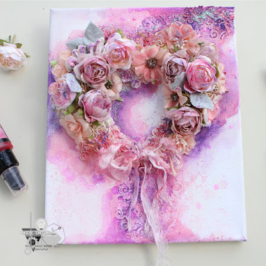 Mixed Media Heart Wreath Canvas