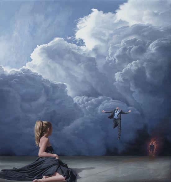 Joel Rea pintura hiper-realista surreal cães gigantes caindo céu Apareça na frente dela