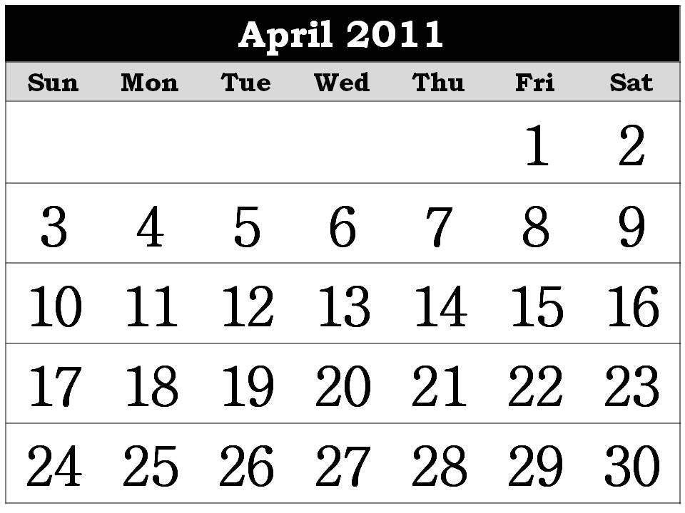 calendars 2011 april. 2011 CALENDAR TEMPLATE APRIL;