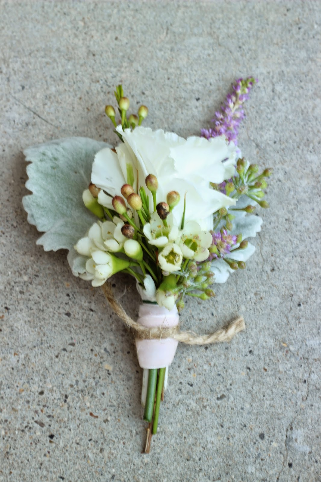 Pink satin ribbon tied with rustic twine