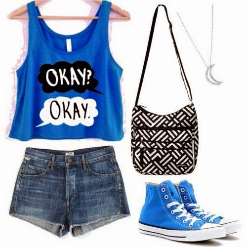 Very Beautiful, Blue, With OKAY Word Singlet, Mini Jeans Short, Blue Sport Shoes, Nice Handbag And Gorgeous Half-Moon Form Necklace.