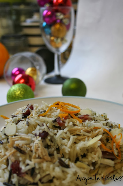 Leftover turkey with cranberries, almonds, rice and orange zest from www.anyonita-nibbles.com