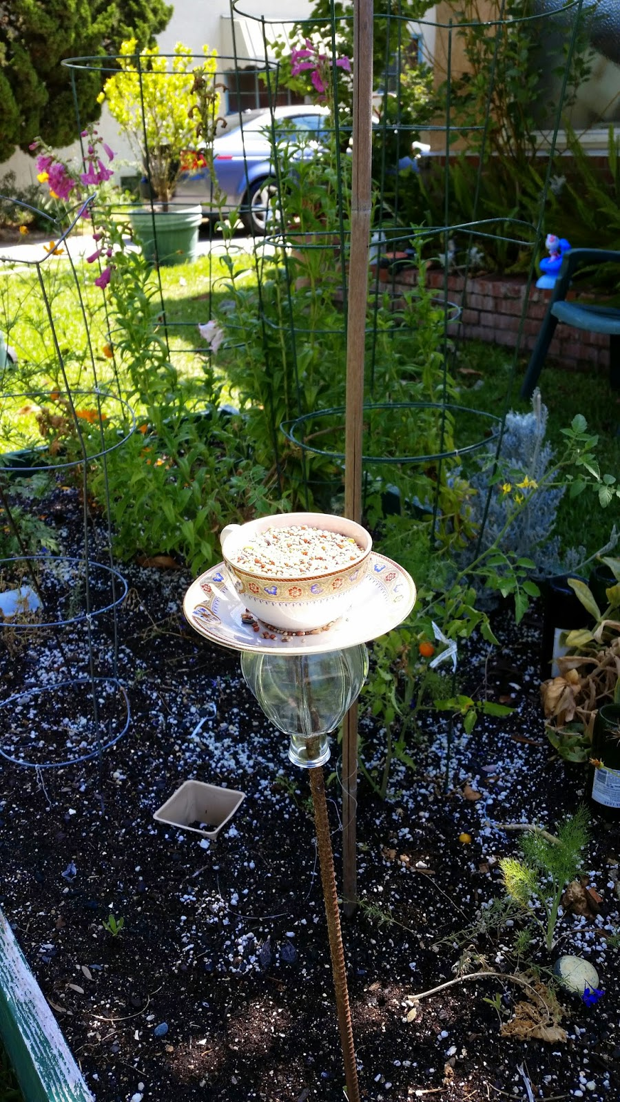 Frugal garden girl easy upcycled bird feeder for Upcycled bird feeder