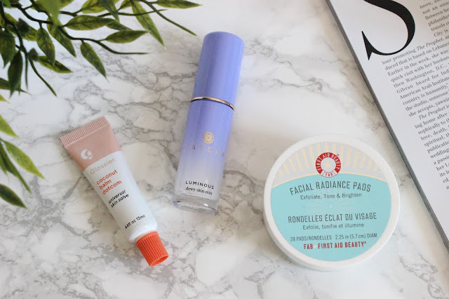 Glossier Coconut Balm Dotcom, Tatcha Luminous Dewy Skin Mist, First Aid Beauty Facial Radiance Pads
