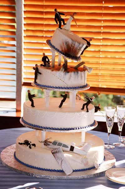 Unique Wedding Cake Ideas - Topsy Turvy Airplane Crash Wedding Cake