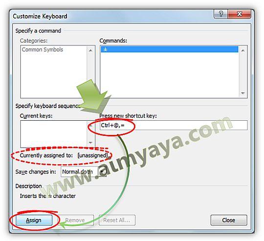 Gambar: Membuat shortcut key baru untuk mengakses / menyisipkan sebuah simbol