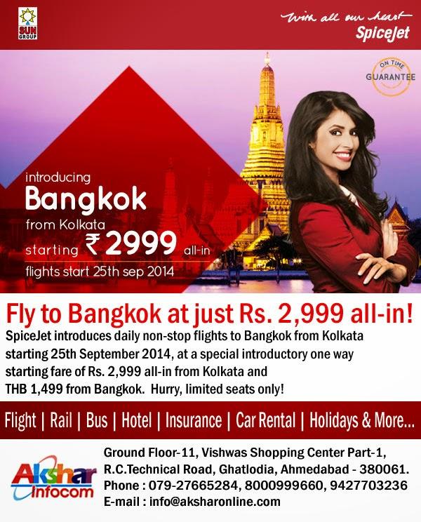 Spicejet Daily NonStop Flights to Bangkok from Kolkata