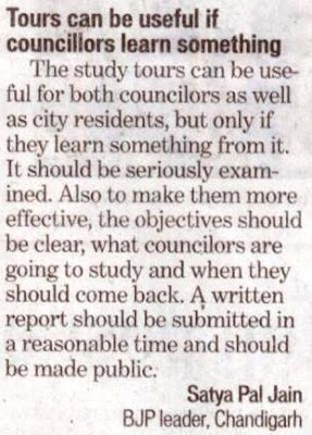 Tours can be useful if councillors learn something - Satya Pal Jain, Ex-MP, Chandigarh.