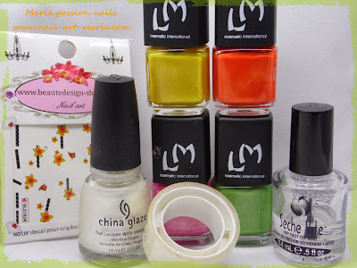 Nail Art Water marble d' Automne8