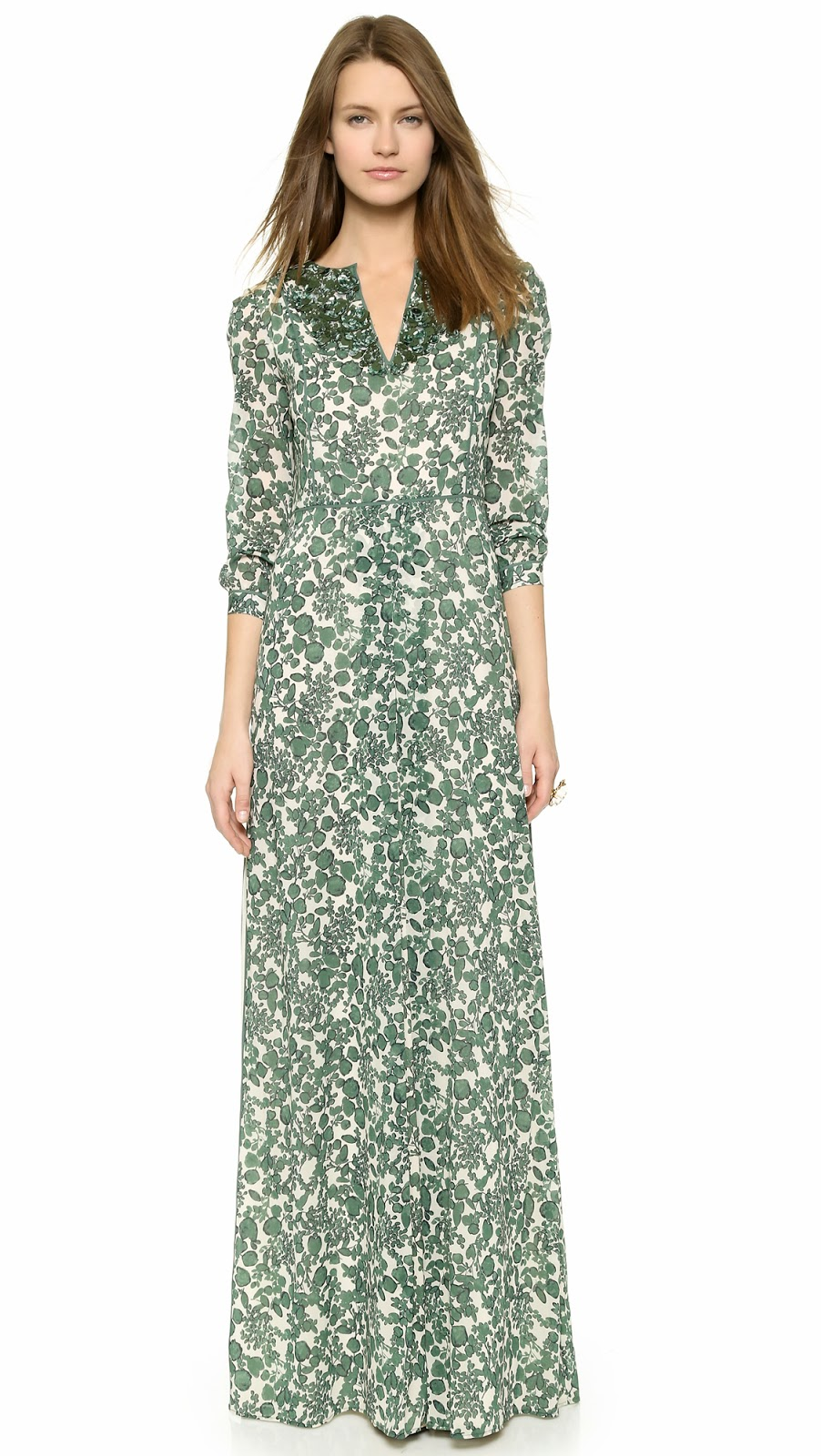 Tory Burch modest dress long sleeve printed maxi dress  |  Follow Mode-sty for stylish modest clothing tznius orthodox jewish muslim hijab mormon lds pentecostal islamic evangelical christian