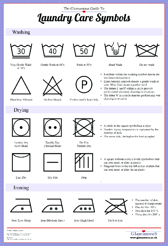 A Guide To Laundry Symbols Printable Cheat Sheet