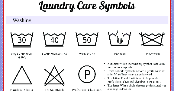 Not sure what the washing symbols on your clothing mean? Struggling to understand the fabric care labels? Here's a guide to help you understand. Here's our quick guide to what the symbols mean. Download our washing machine symbols guide and put it on your laundry room's wall! Machine wash cycles. Normal.