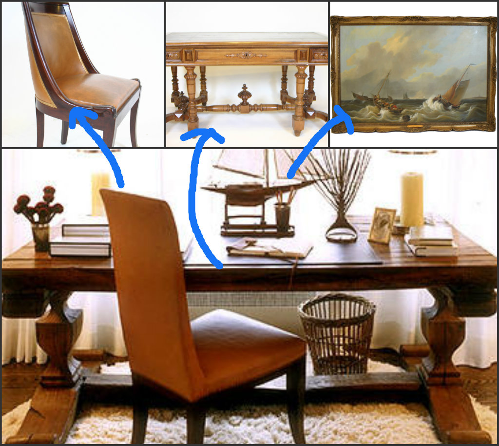Starting With A Large Library Table Then Adding The Perfect Accessories  Like This French Empire Desk Chair And A Great Nautical Boat Scene Can  Transform Any ...