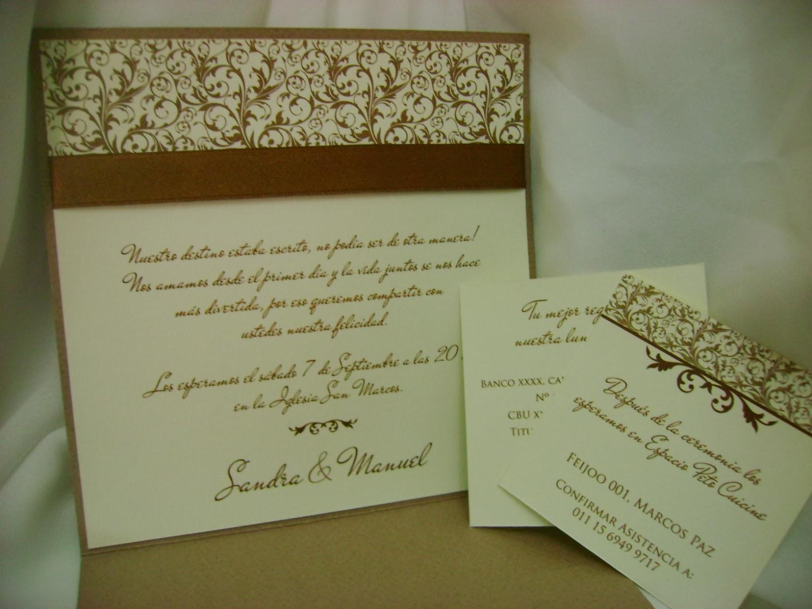 Invitaciones y Tarjetas de casamiento