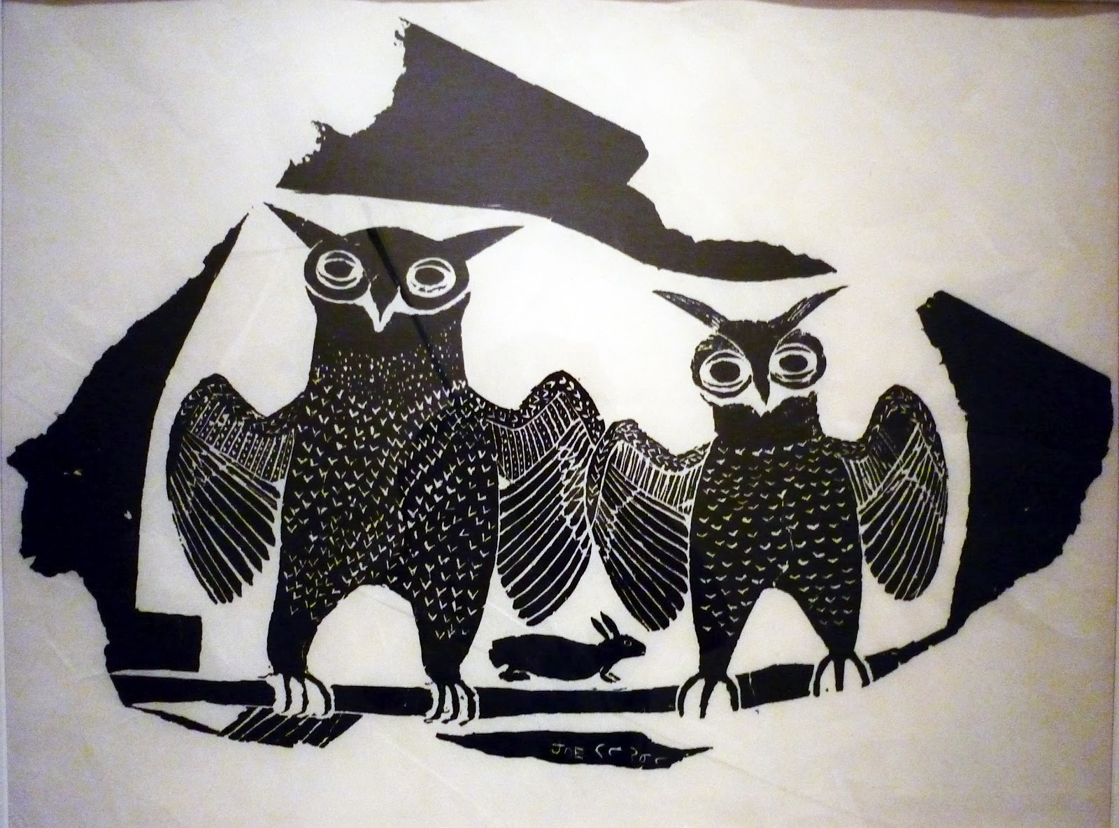 black and white inuit stone block prints