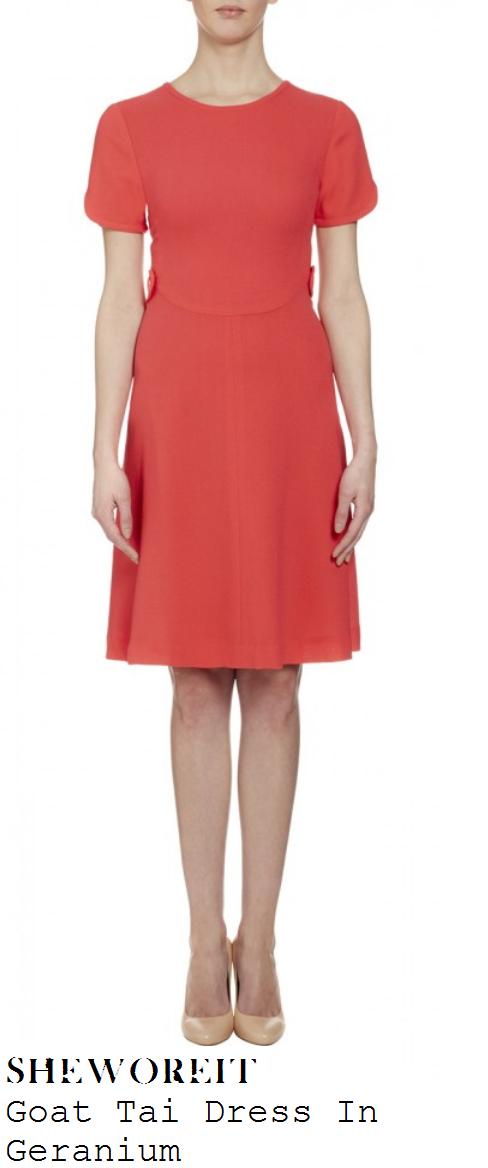 kim-sears-bright-pink-short-sleeve-knee-length-dress-wimbledon