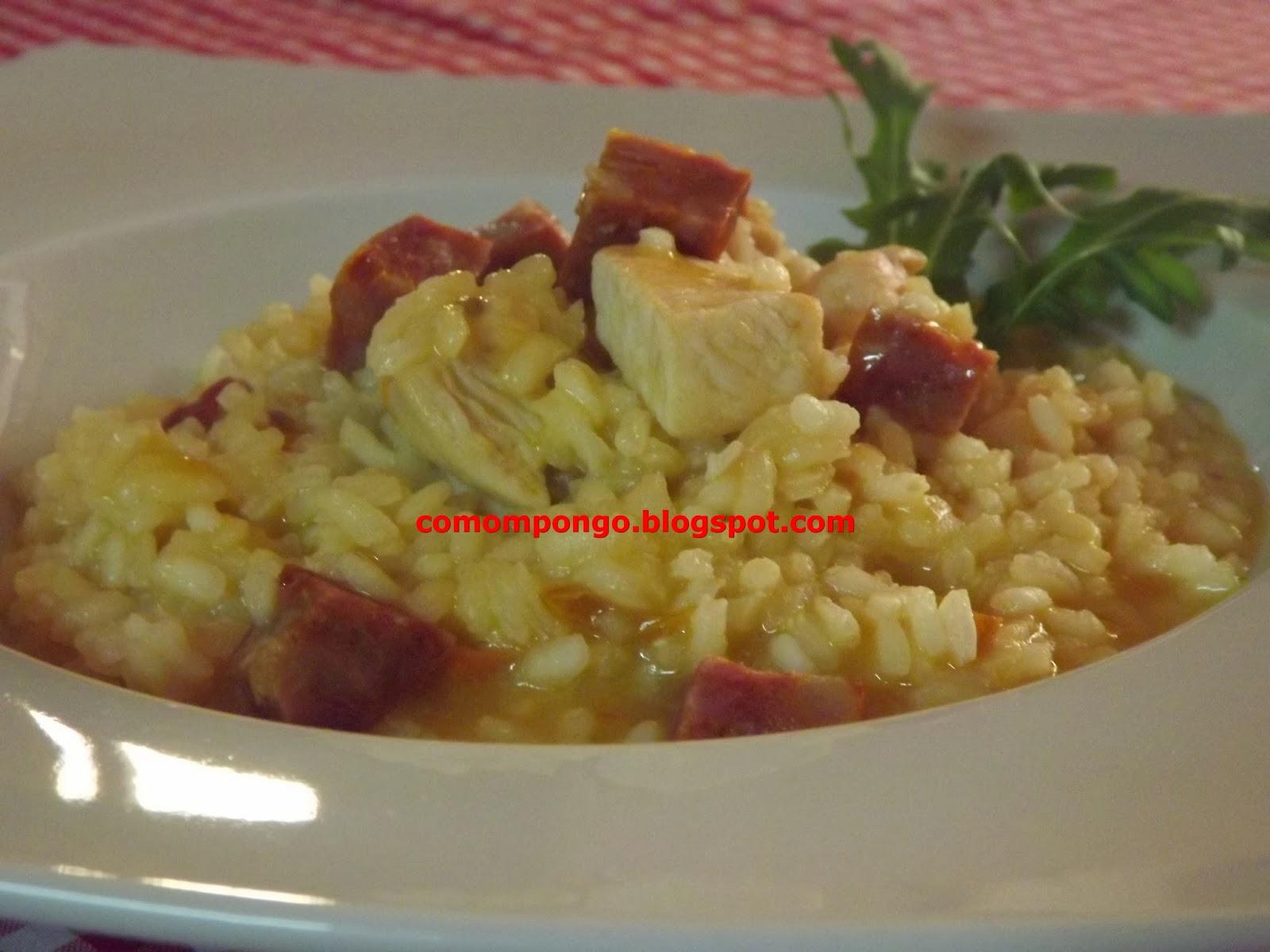 Arroz meloso con chorizo y pollo